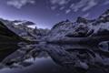Картинка снег, пейзаж, горы, природа, озеро, отражение