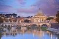 Картинка небо, облака, пейзаж, мост, дома, Рим, Италия
