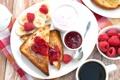 Картинка ягоды, малина, кофе, банан, джем, тосты, йогурт