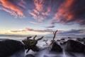 Картинка камни, океан, скалы, рассвет, побережье, горизонт
