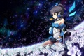 Картинка поле, небо, девушка, звезды, цветы, ночь