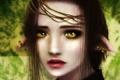 Картинка глаза, взгляд, девушка, лицо, фон, волосы, серьги