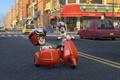 Картинка дорога, улица, мультфильм, дома, очки, мотоцикл, шлем
