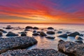 Картинка море, небо, закат, яркий, камни