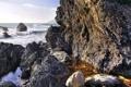 Картинка море, волны, брызги, природа, камни, скалы, прибой