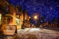 Картинка снег, ночь, город, улица