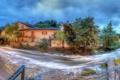 Картинка деревья, пейзаж, мост, река, здания, панорама