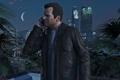 Картинка City, Game, Grand Theft Auto V, GTA V, Phone, Nigth, Michael De Santa