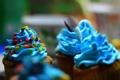 Картинка еда, вкусности, маффины, синий крем