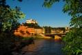 Картинка ветки, мост, река, гора, дома, Австрия, крепость