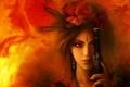 Картинка цветы, пламя, Девушка, меч