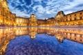 Картинка вода, отражение, Франция, Париж, здание, Лувр, Paris