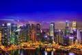 Картинка ночь, небоскребы, Сингапур, огни
