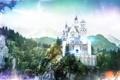 Картинка лес, пейзаж, рендеринг, дракон, Горы