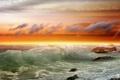 Картинка море, облака, камни, волна, прибой