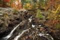 Картинка осень, лес, деревья, горы, мост, ручей, камни