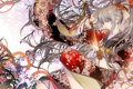 Картинка цветы, Девушка, меч, катана, кимоно