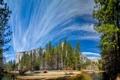 Картинка небо, облака, деревья, река, гора, Калифорния, США