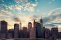 Картинка небо, облака, город, здания, мегаполис, Нью - Йорк, New - York