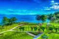 Картинка небо, трава, деревья, цветы, горы, озеро, парк