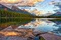 Картинка лес, горы, природа, озеро, отражение, панорама, расвет