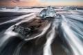 Картинка лед, отлив, Kenji Yamamura, photographer, чёрный песок