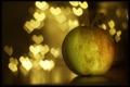 Картинка блики, фон, яблоко, сердечки