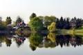 Картинка пруд, река, дереьвя, херцберг, германия, дом, зелень