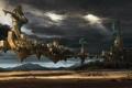 Картинка город, канаты, летающий
