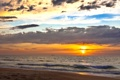 Картинка песок, море, пляж, небо, солнце, облака, закат