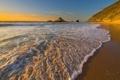 Картинка скалы, океан, заход солнца, вода, волны, море, берег