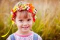 Картинка цветы, дети, улыбка, девочка, венок, ребёнок