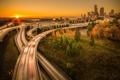Картинка закат, мост, city, город, Сиэтл, USA, США