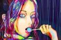 Картинка глаза, девушка, colorful, арт, губы, конфета, miyano kensuke