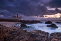 Картинка море, берег, маяк, вечер, Португалия, Michael Breitung