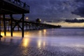 Картинка море, огни, берег, вечер, прогулочная