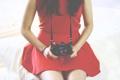 Картинка красное, камера, платье, фотоаппарат, объектив