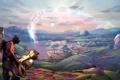 Картинка небо, солнце, облака, пейзаж, человек, Meet The Pyro