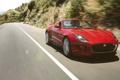 Картинка красный, движение, ягуар, кабриолет, вид спереди, jaguar, равнины