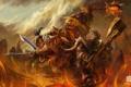 Картинка огонь, World of Warcraft, WoW, скалы, схватка, воины