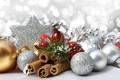 Картинка зима, шарики, игрушки, бусы, декорации, белые, корица