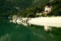 Картинка Lake, beach, green, mountains, forest, water, House