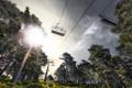 Картинка небо, свет, деревья, канатная дорога