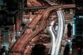 Картинка дороги, ночь, выдержка, город, Япония, Осака, хайвеи