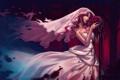 Картинка девушка, птицы, кровь, череп, арт, кости, невеста