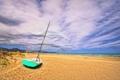 Картинка песок, небо, облака, берег, лодка, Испания, Грау Кастелло