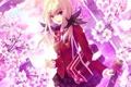 Картинка девушка, цветы, аниме, сакура, арт, школьница, сумка