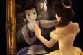 Картинка белль, платье, прическа, красавица и чудовище, отражение, зеркало, beauty and the beast