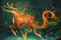 Картинка лес, озеро, огонь, животное, арт, зверь, sakimichan