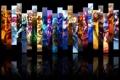 Картинка отражение, коллаж, игра, черный фон, персонажи, League of Legends